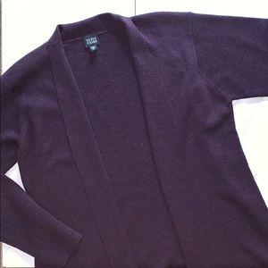 Eileen Fisher Purple Merino Wool Open Cardigan